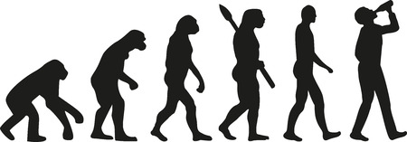 Evolution of drinking man 矢量图像