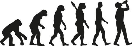 Evolution of drinking man Vettoriali