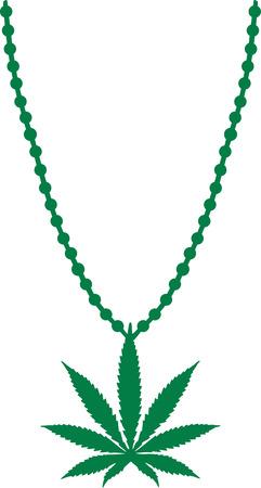 hashish: Necklace with Marijuana leaf