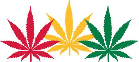hemp: Three Marijuana hemp leafes Illustration