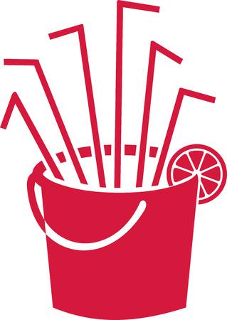 sangria: Bucket with sangria straws and lemon Illustration