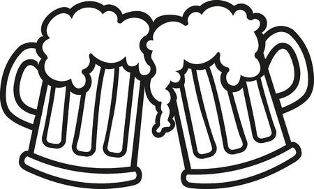 Beer mugs cartoon cheers