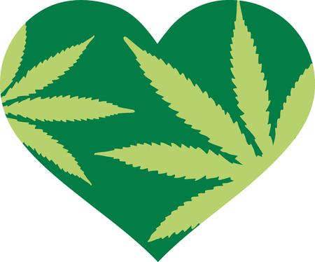 Groene hart met hennep bladeren
