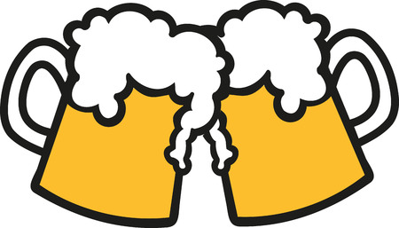 Toasting beer mugs  イラスト・ベクター素材