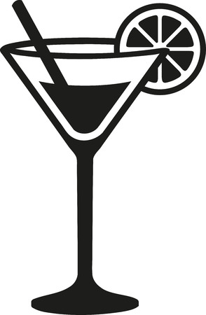 Cocktail glass with lime Illustration