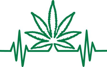 Frequence with hemp leaf Marijuana 일러스트
