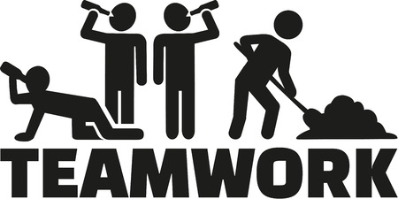 alcoholism: Teamwork - Some drinking alcohol one working