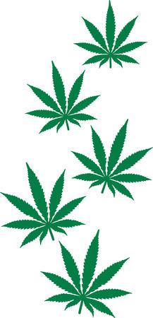 Flying hemp leafs Marijuana