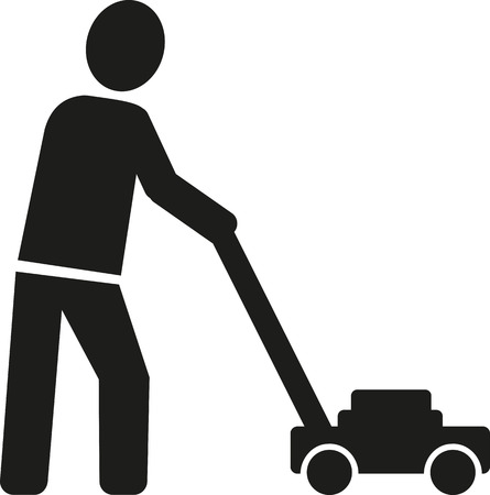 evolve: Icon of gardener with lawn mower