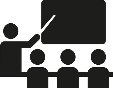 pupils: School pictogram with teacher and pupils Illustration