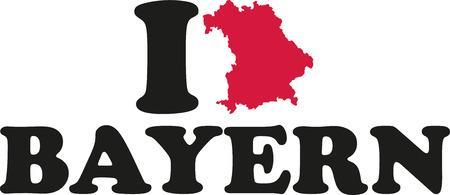 bavaria: I love Bavaria with map german