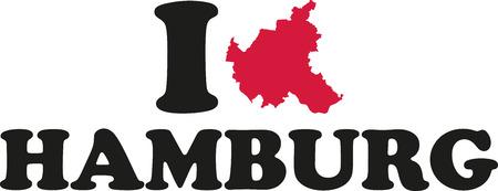 hamburg: I love Hamburg with map Illustration