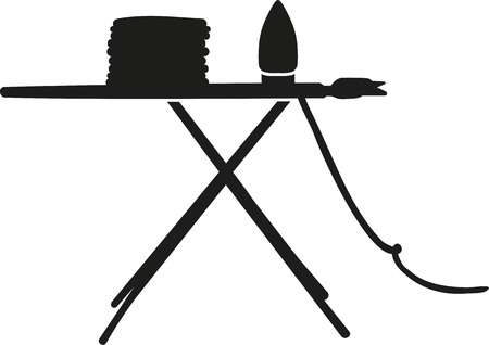 iron: Ironing board with clothes and iron