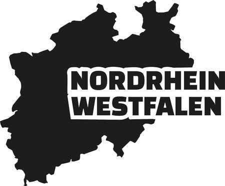 westfalen: North Rhine-Westphalia map with german title