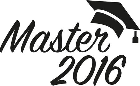master: Master 2016 graduation hat Illustration