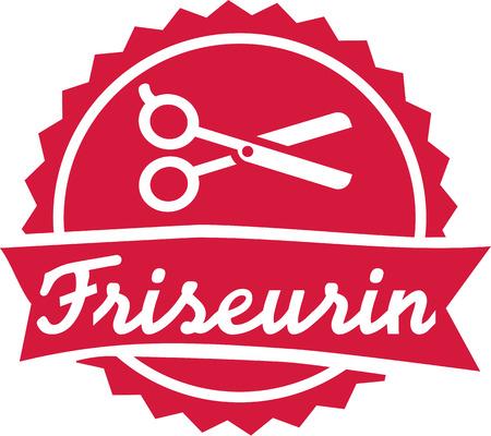 hair drier: Hairdresser emblem with scissor