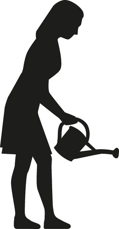 woman gardening: Silhouette of woman watering flowers with can