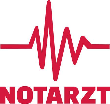 emergency doctor: Emergency doctor with heartline Illustration