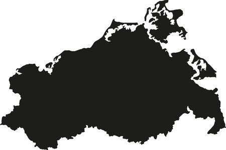 Mecklenburg 西部の Pomerania の地図