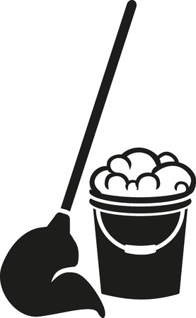 cleaner vacuuming symbol: Floor cleaning bucket with mop