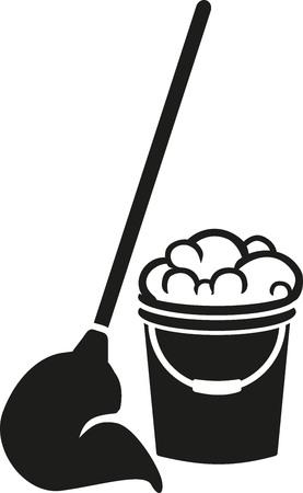 Piano secchio di pulizia con mop