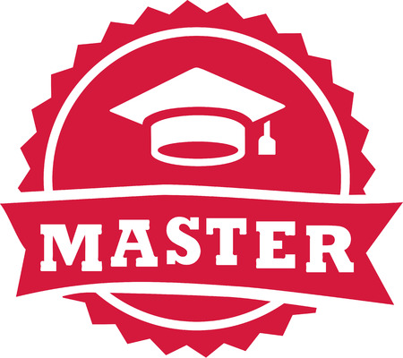 Master stempel 2016 graduatiehoed Vector Illustratie