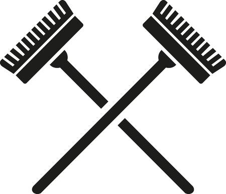 cleaner vacuuming symbol: Crossed brooms