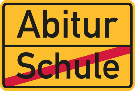 School finished - Abitur village name sign Illustration