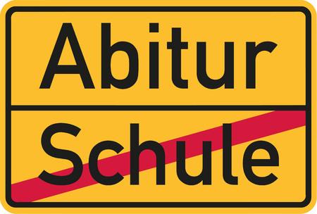 baccalaureate: School finished - Abitur village name sign Illustration
