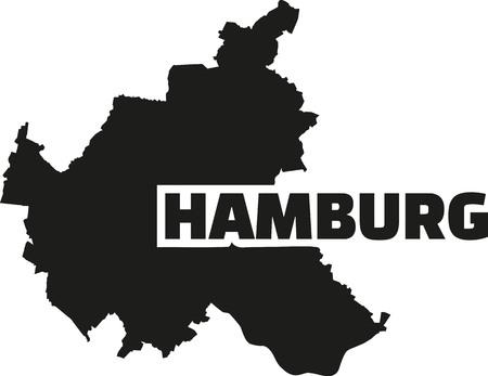 hamburg: Hamburg map with title Illustration