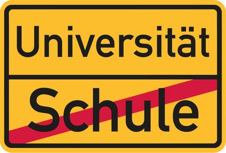 after school: Start studying after finish school - german Illustration
