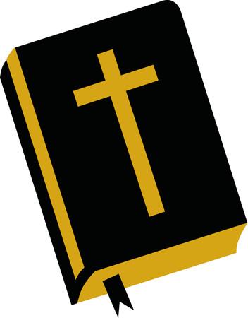 Bijbel met kruis Stock Illustratie