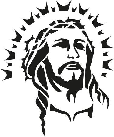 Jezus Christus hoofd met halo Stock Illustratie