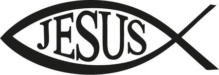 fish: Jesus Fish christian with word Jesus