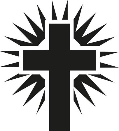 Shining cross jesus Stock Illustratie