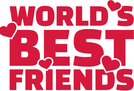 adolescent: Worlds best friend text with hearts Illustration