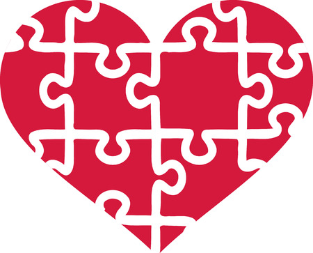 heart puzzle: Heart of puzzle pieces