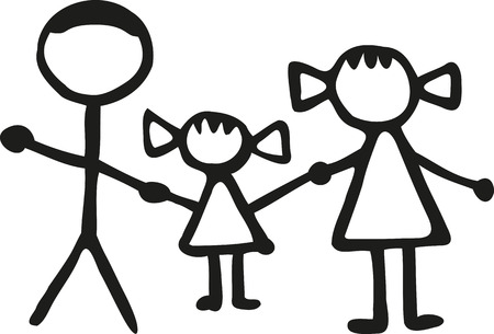 dad daughter: Stickman family - dad daughter Mom