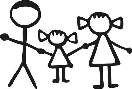 Stickman familie - vader dochter Mom