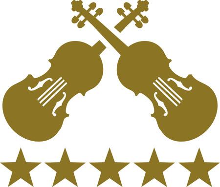 violins: Crossed violins with five golden stars Illustration