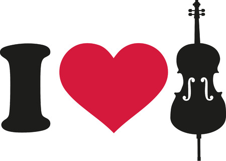 cellos: I love cello icon Illustration