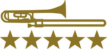 trombon: Tromb�n con cinco estrellas de oro Vectores