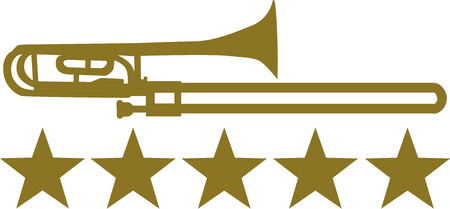 trombone: Trombone with five golden stars Illustration