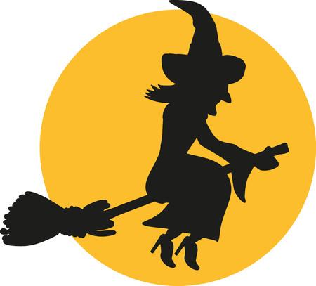 Vliegende heks silhouet 's nachts in de voorkant van de maan Stock Illustratie
