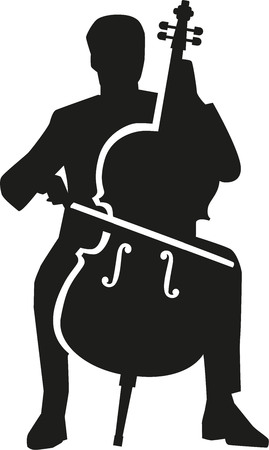 cellos: Cello player silhouette Illustration