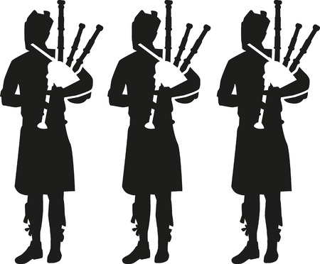 bagpipe: Three Bagpipe player silhouettes Illustration