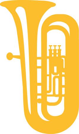 tuba: Tuba yellow icon Illustration