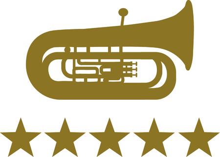 tuba: Tuba with five golden stars