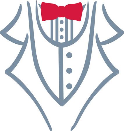 Grey tuxedo with red bow tie Illusztráció