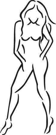 nude girl: Sexy girl caligraphy Illustration